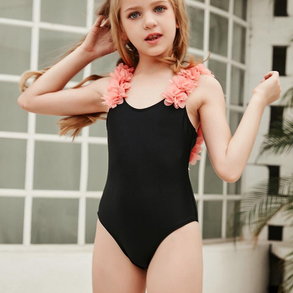 2020 New 2-14 Years Flower Toddler Children and Teen Girls One Piece Swimsuits Black Monokini Swimwear Beach Bathing Suit