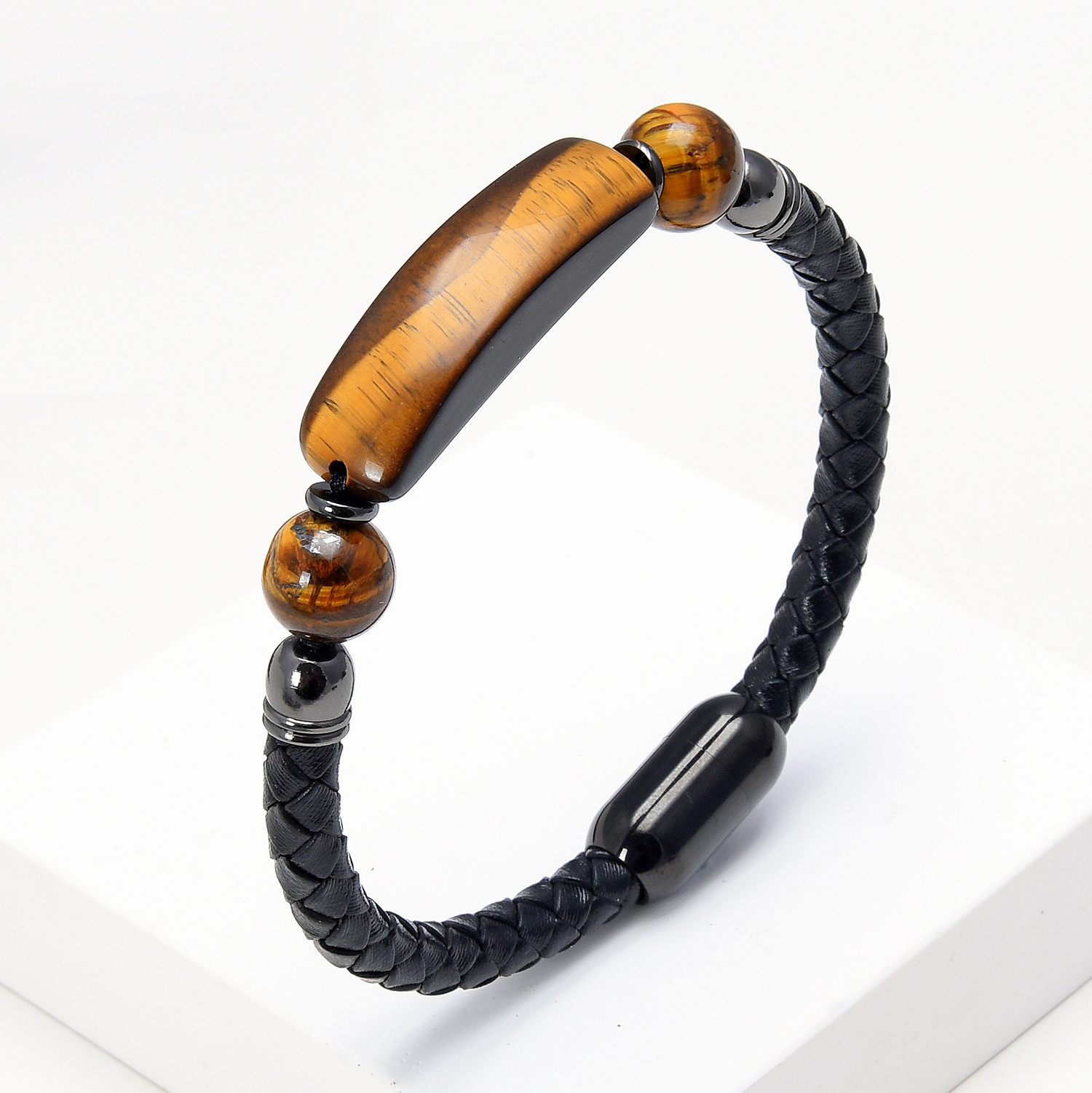 9 Style Natural Stone Bracelet Classic Leather Rope Chain Stainless Steel Buckle