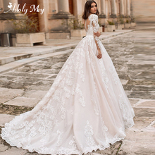 Wedding-Dresses Bridal-Gown Court-Train Tulle Long-Sleeve Gorgeous Adoly Mey Elegant
