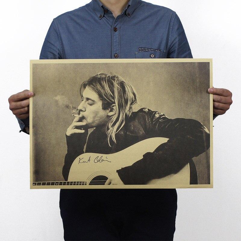 Cobain Nirvana Frontman Smoking Vintage Kraft Paper Movie Poster Map School Decor Wall Decals Art DIY Retro Decor Prints