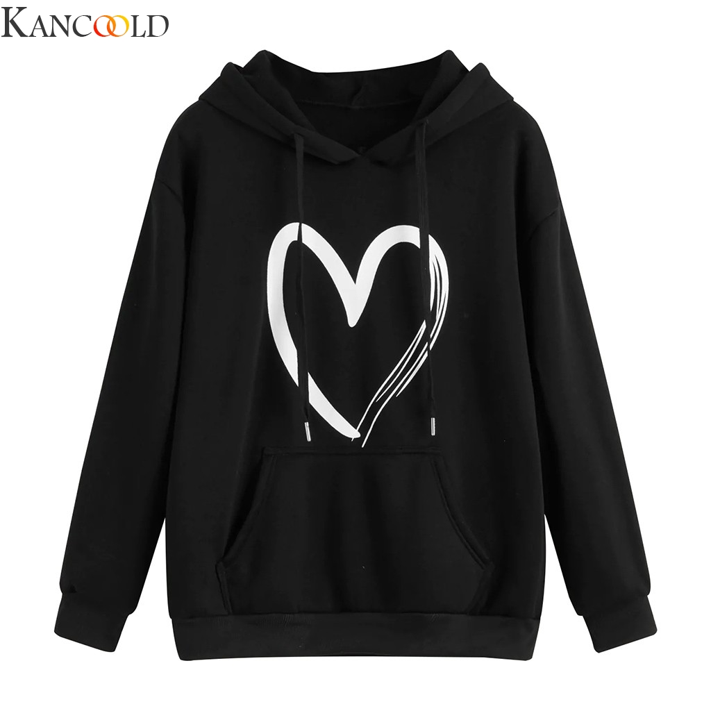 KANCOOLD Fashion Women Casual Loose Long Sleeve Print Strappy Sweatshirt Tops New Fashion Letter Polyester Loose Casual Hooded