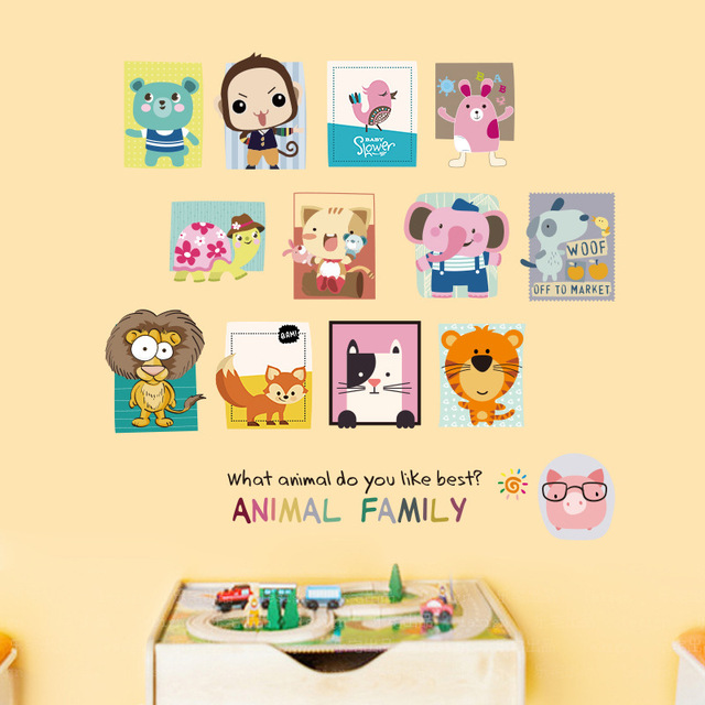Купить наклейка на стену с изображением семьи животных детская комната картинки цена