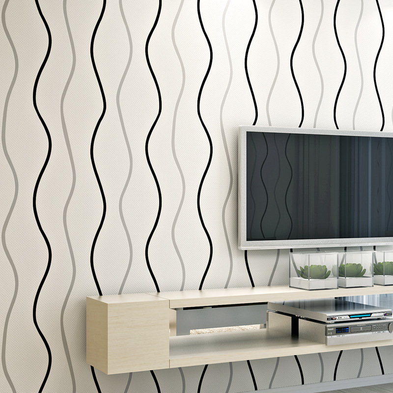 Modern Minimalist Wave Curve Wave Pattern Wallpaper Television Sofa Wall Nonwoven Fabric Stripes Wallpaper