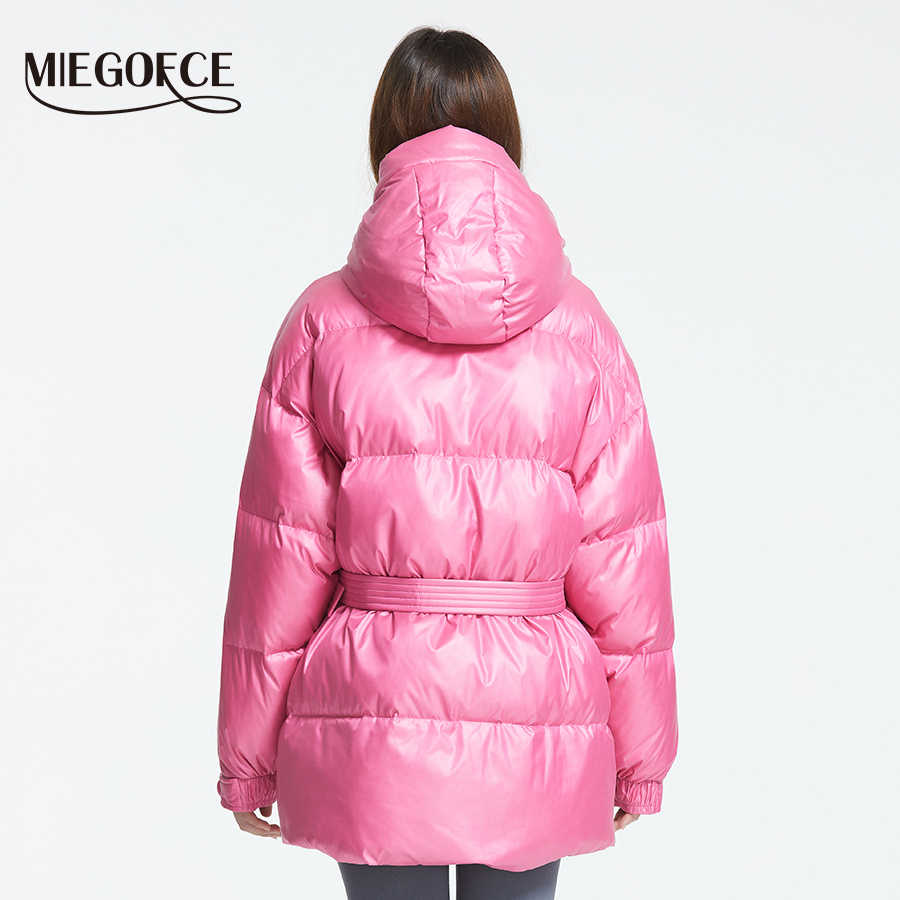 MIEGOFCE 2019 New Winter Women's Jacket High Quality Bright Colors Insulated Puffy Coat collar hooded Parka Loose Cut With Belt