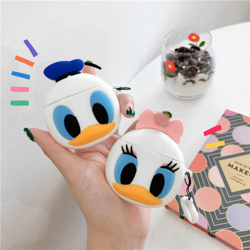 3D Daisy Donald Duck Couple Silicon Case for Airpods Bluetooth Wireless Earphone Case Charging Box Cartoon Bags for Airpods 1 2