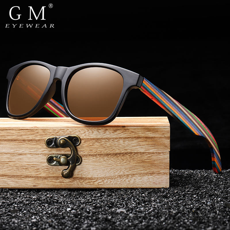GM Polarized Sunglasses for Boys and Girls with Recycled Frames and Color Wood Temples