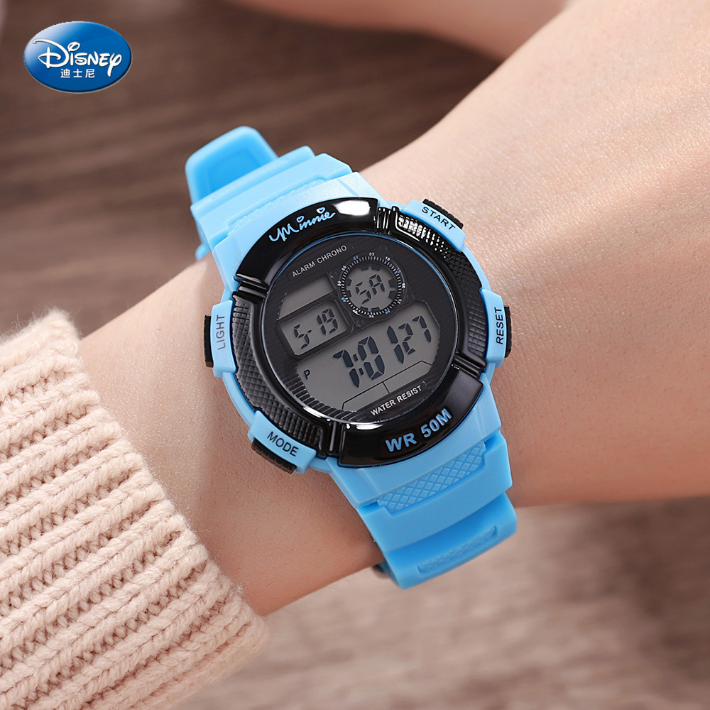 Disney Children's Waterproof Digital Watch Pupils Cool Multi-function Kids Watches Complete Calendar  5Bar Plastic Week Display