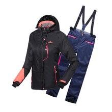 2 шт./компл. Для женщин зимние Термальность лыжные комплекты профессиональный лыжный костюм ветрозащитная куртка для снежной погоды+ штаны спортивный костюм, тренировочный костюм