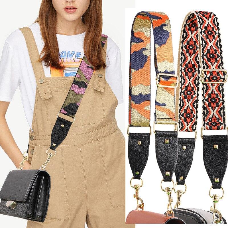 Nylon Colored Women Bag Strap Camouflage Belt For Crossbody Adjustable Bag Accessories Handle Shoulder Hanger Straps For Bags