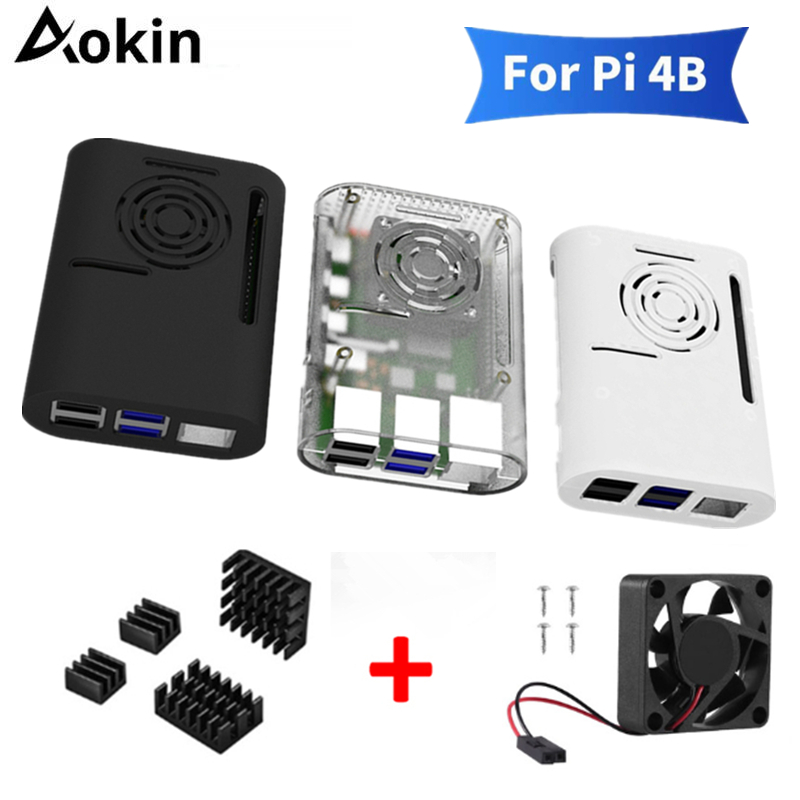 Aokin Raspberry Pi 4 Model B Case With Cooling Fan Heatsink Aluminum Heat Sink For Raspberry Pi 4 4B Cover