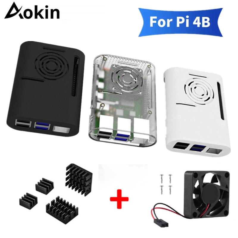 Aokin Raspberry Pi 4 Model B Case With Cooling Fan Heatsink Aluminum Heat Sink For Raspberry Pi 4 4B Cover