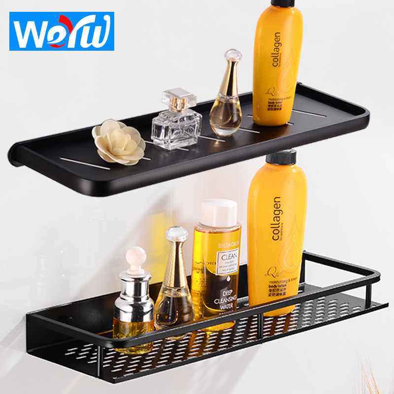Bathroom Shelf Organizer Space Aluminum Bathroom Shelves Shower Storage Rack Wall Mounted Black Corner Basket Shampoo Shelf