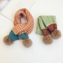 Nowe zimowe dzieci chusta dzianiny szaliki koreański styl miękki Pompon Patchwork szal dzieci ciepły szalik