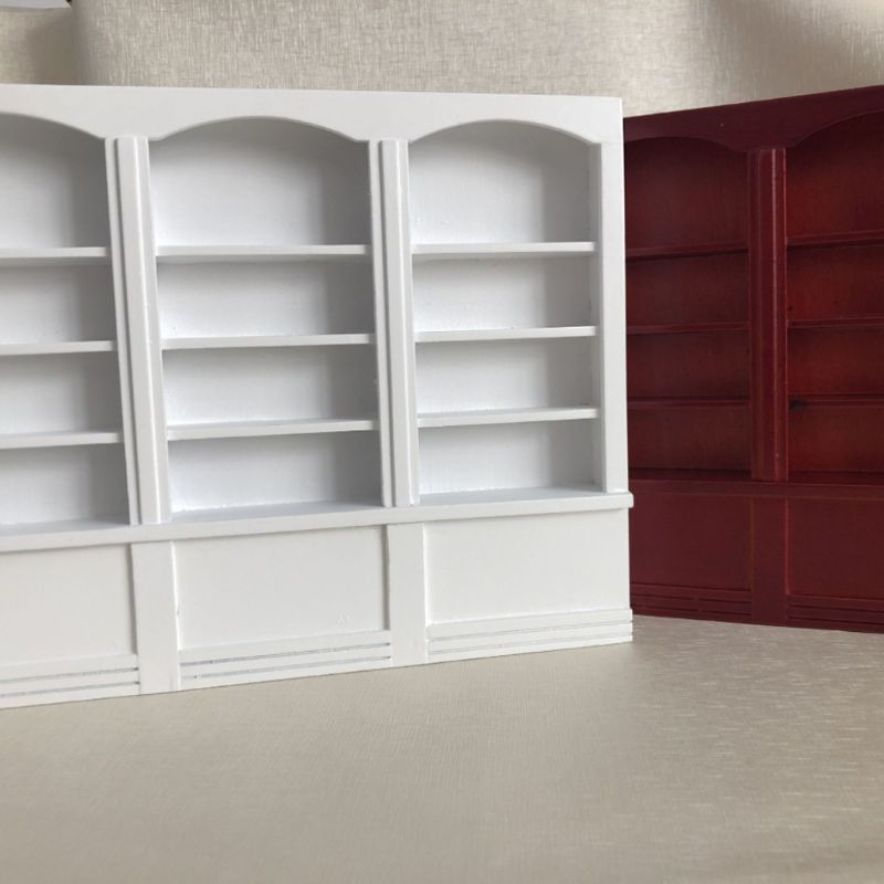 1 12 Dollhouse Miniature Furniture Multifunction Wooden Bookcase Bookshelf Cabinet Shelf Study Room Decoration E65D in Furniture Toys from Toys Hobbies