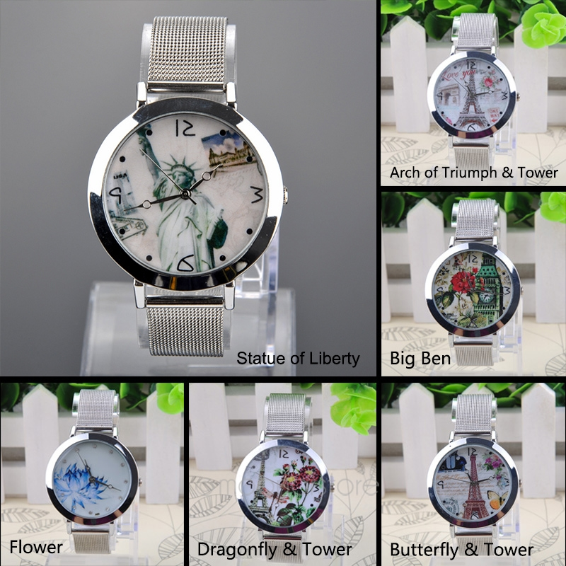 Women Fashion Floral Pattern Round Case Mesh Steel Band Quartz Wrist Lady Watch
