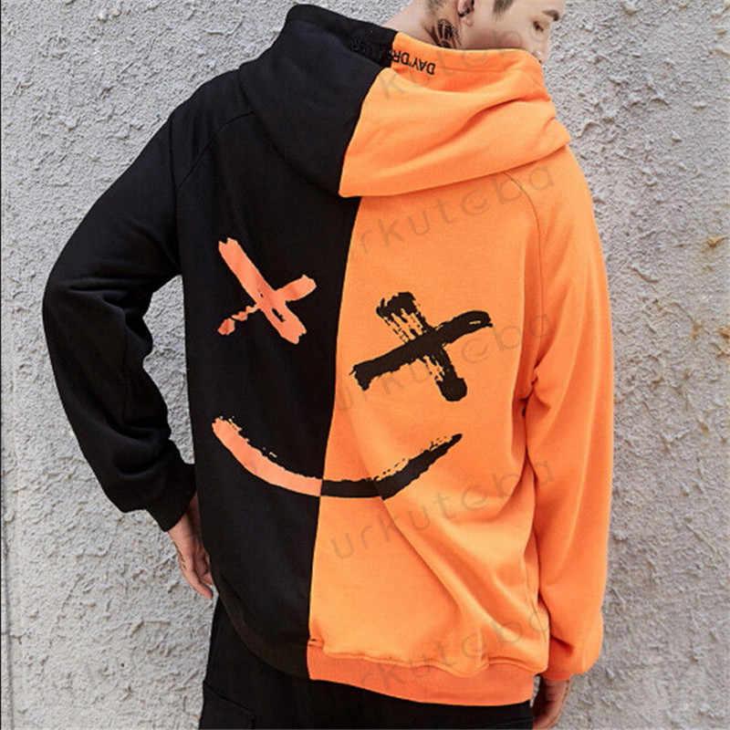 뜨거운 판매 패션 플러스 크기 3XL 힙합 거리 착용 남자 두건 후드 미소 인쇄 스웨터 탑스 까마귀 옷