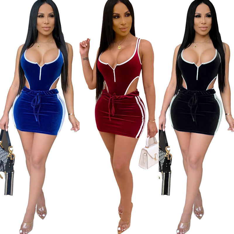 New Bodysuits+Skirts Suits Sexy Hollow Out Two Piece Set Night Club Sexy Night Arty Streetwear Bodycon 2020 Spring  Outfits
