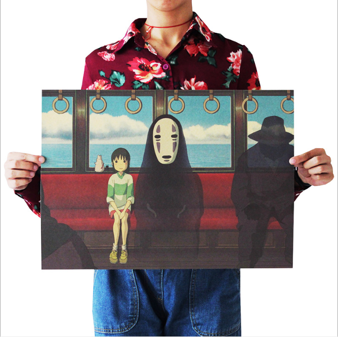 Spirited Away Poster vintage Classic Anime Cartoon Kraft Paper Poster Painting Wall Stickers Home Decorative wall art