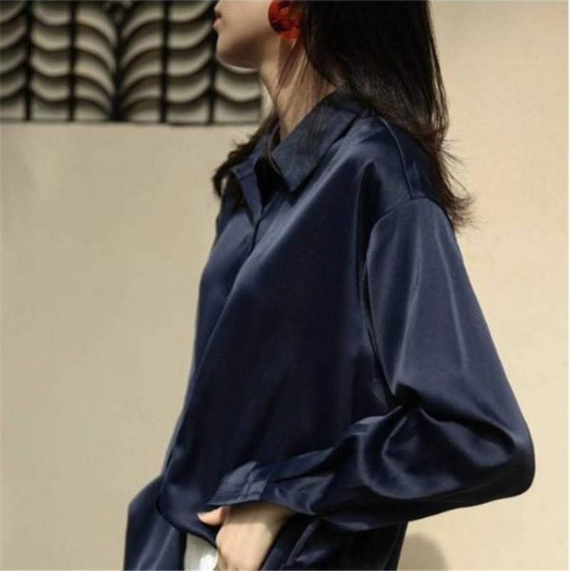 2019 New Chic Casual Loose Poplin Shirt Female Temperamen Silk Blouse Shirt Women Elegant Korean Solid Color Oversize Top