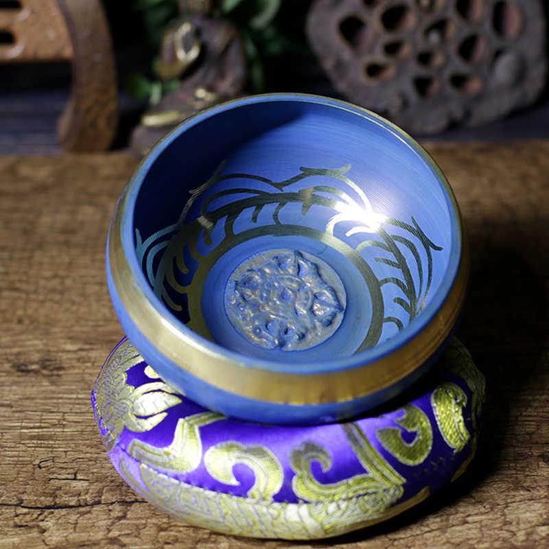 Niemym umyśle, tybetańska misa dźwiękowa zestaw niebieski kolor konstrukcja z podwójnym powierzchni młotek i jedwabne poduszki sprzyja pokojowi