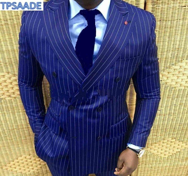 Stylish-Design-Groom-Tuxedos-Double-Breasted-Blue-Stripe-Peak-Lapel-Groomsmen-Best-Man-Suit-Mens-Wedding