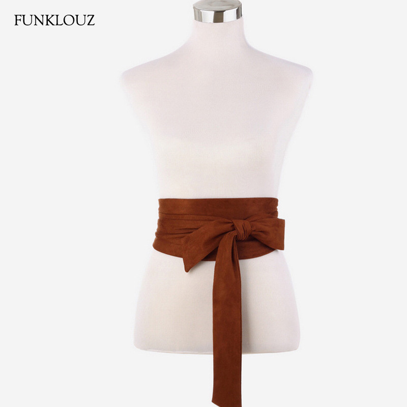 Funklouz Japanese Vintage Waist Belt For Women Bow Cummerbund Lace Up Waistband Slim Dress Belt New Fashion Apparel Accessories