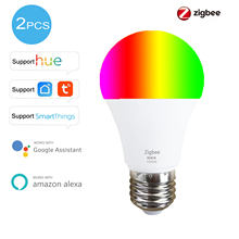 2pcs Cheaper Tuya Zigbee Smart Home LED Bulb Light Lamp 9W E27 RGB for Philips Hue Smart Life Alexa Google Assistant Smartthings