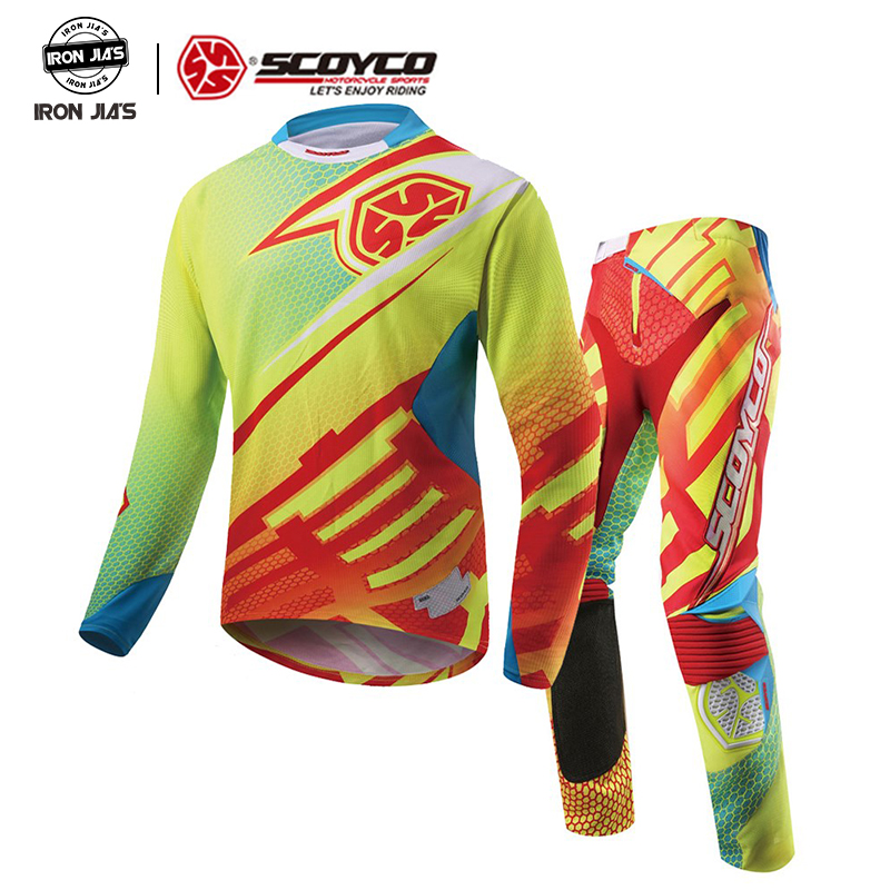 SCOYCO professionnel Motocross course Jersey + Hip Pads pantalons ensembles tout-terrain Moto Gear Dirt Bike équitation vtt DH MX vêtements costume