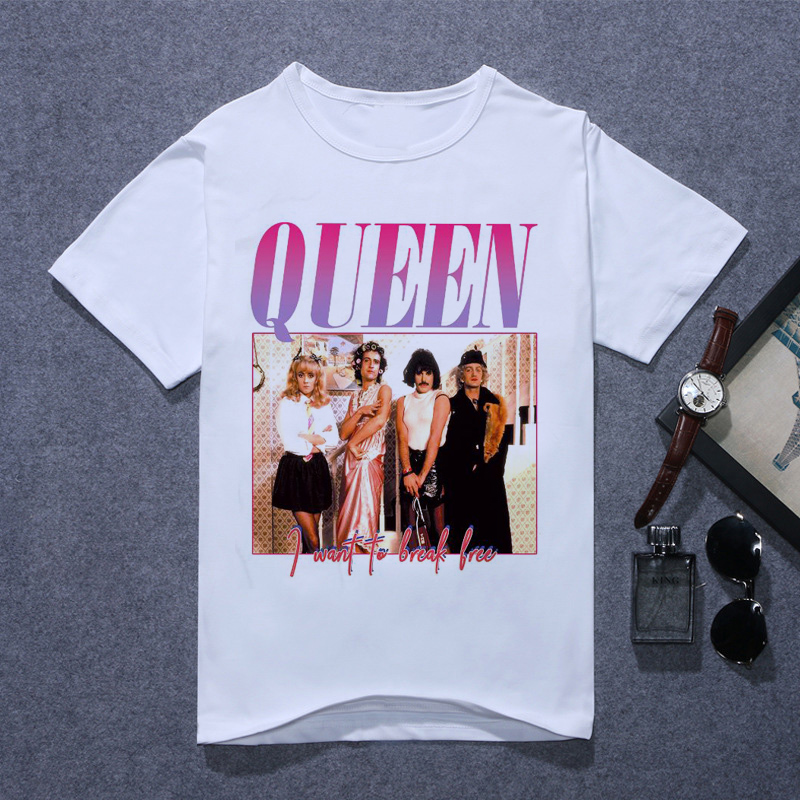 New 2020 Summer Casual O-Neck Short Sleeve The Queen Band Tshirt Queen Band T Shirt Men Printing FREDDIE MERCURY T-shirt