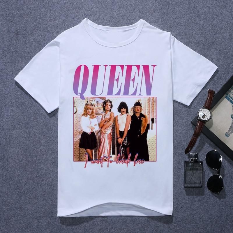 New 2020 Summer Casual O-Neck Short Sleeve The Queen Band Tshirt Queen Band T Shirt Men Printing FREDDIE MERCURY T-shirt