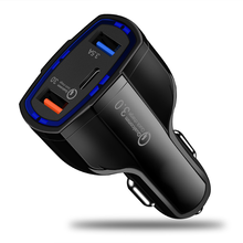 Palltoro Dual USB Quick Charge QC 3.0 Car Charger For iPhone Type-C PD Fast Mobile Phone Car-Charger
