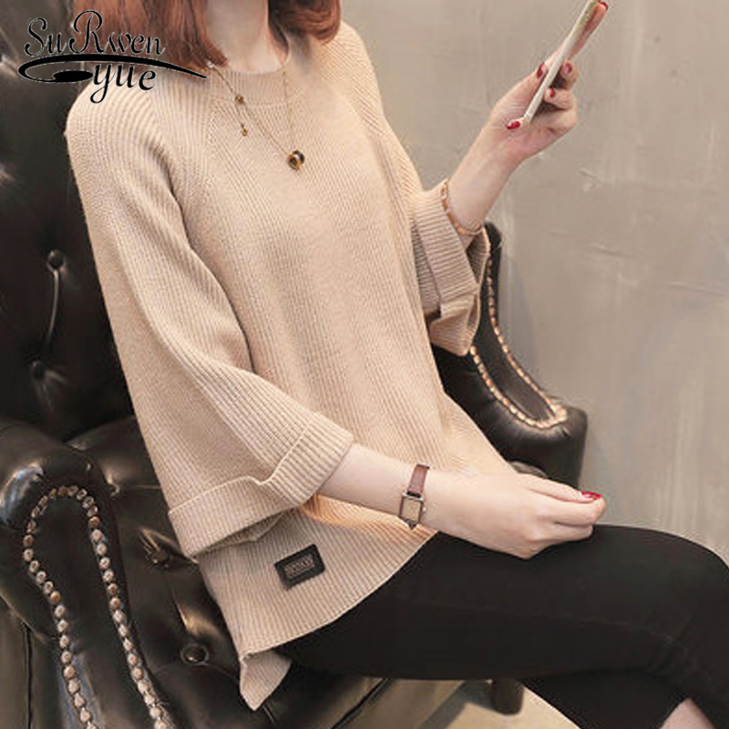 Autumn 2019 Casual Knitted Women Sweater Elegant Womens Tops And Blouses Half Sleeve O-neck New Fashion Women Clothing 5769 50