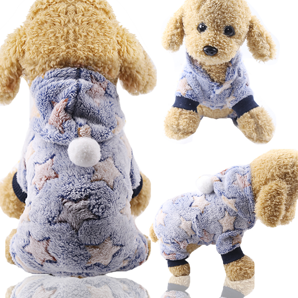 Dog Clothes Pajamas Jumpsuit Winter Pet Clothes Puppy Hoodies Fleece legs Warm Dog Clothing Outfit Small Dog Costume Apparel 14