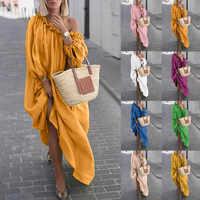 Femmes vêtements automne Boho grande taille Robes décontracté hors de l'épaule robe Vintage robe Maxi ample Robes Vestidos Femme