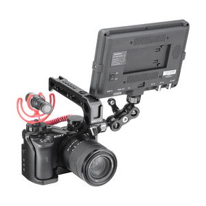 Image 2 - UURig Vlog Camera Cage for Sony A6600 with 1/4 3/8 Thread Hole to LED Light Aluminum Protective Cage to Microphone W Top Handle