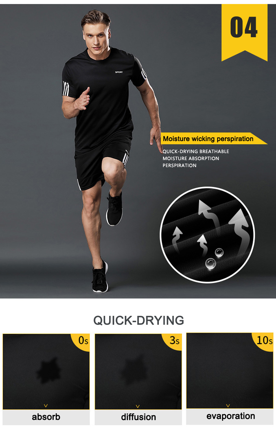 Men's fitness sports running clothes, summer gym bodybuilding training short sleeve suit, quick-drying breathable men's sports s