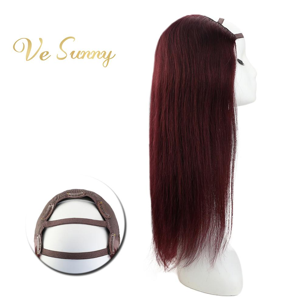 VeSunny One Piece U Part Half Wig 100% Real Human Hair With Clips On Deep Wine Red #99J Machine Made Remy Hair 12-24 Inch