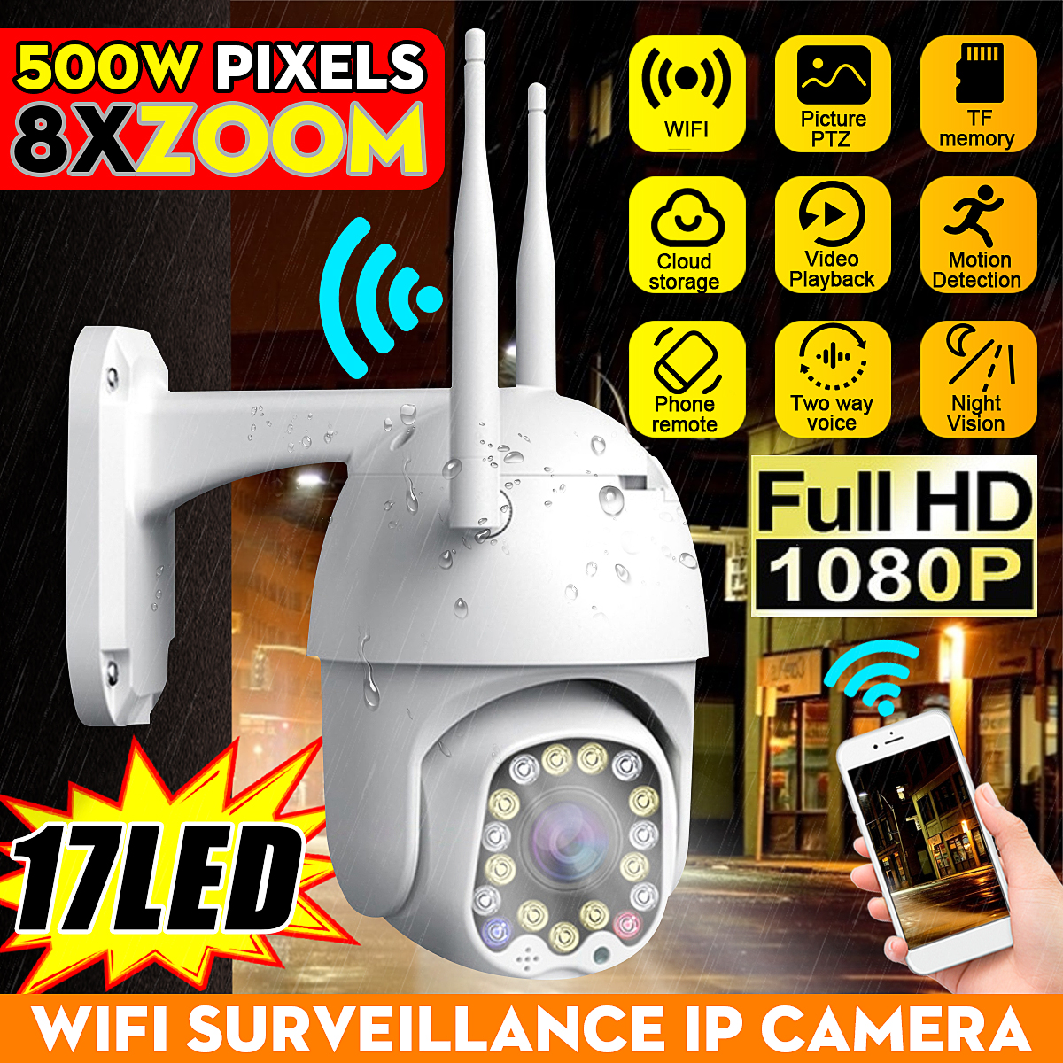 1080P PTZ IP Camera Wifi Outdoor Speed Dome Wireless Wifi Security Camera Pan Tilt 8X Digital Zoom Network CCTV Surveillance