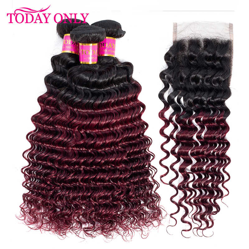 TODAY ONLY Burgundy Peruvian Hair Bundles With Closure Deep Wave Bundles With Closure Remy Ombre Human Hair Bundles With Closure