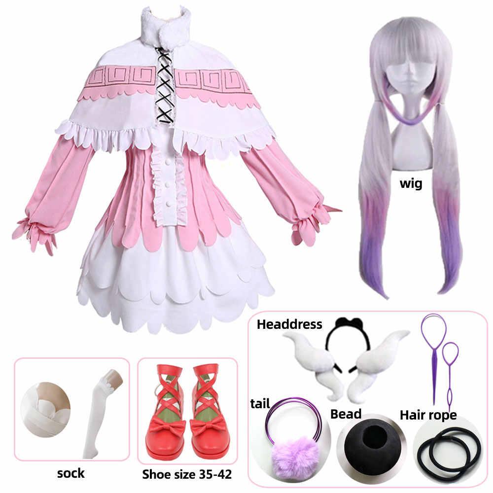 Kanna cosplay anime japonês menina kobayashi dragão maid kamui kanna cosplay trajes halloween festa kawai vestido para mulher peruca