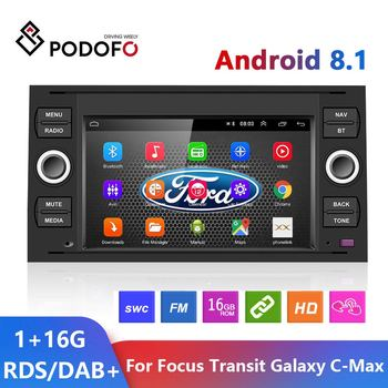 Podofo 2 Din Android 8.1 Car Radio Multimedia Player 7 GPS WIFI Autoradio For Transit Fiesta Focus Galaxy Mondeo Fusion C-Max image