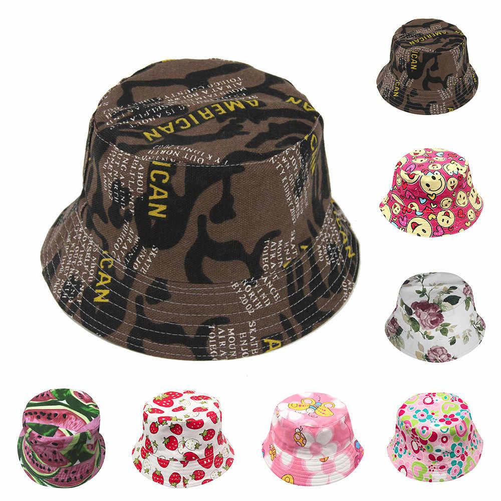子供太陽の花フルーツパターンバケット帽子サマービーチ日焼け漁師帽子かわいいボーイズ女の子ヘルメットキャップ шляпа # を