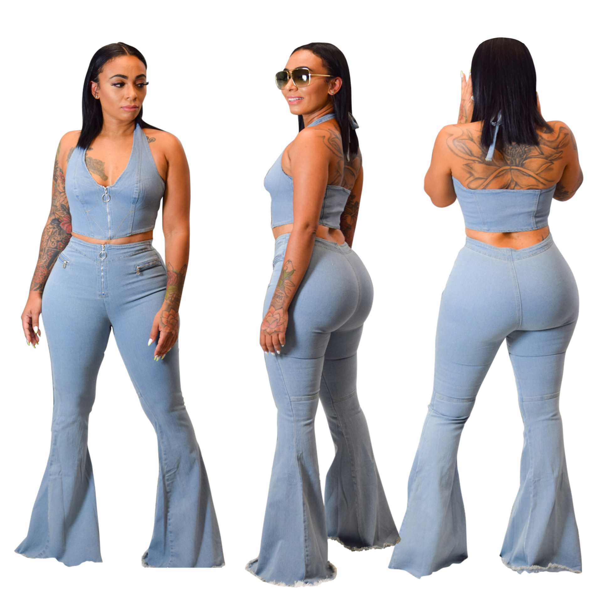 Fashion Women Light Blue Washed Flare Jeans Sets Sexy Halter Neck Sleeveless Top Bell Bottom Jeans Two Pieces Suits New Arrivals