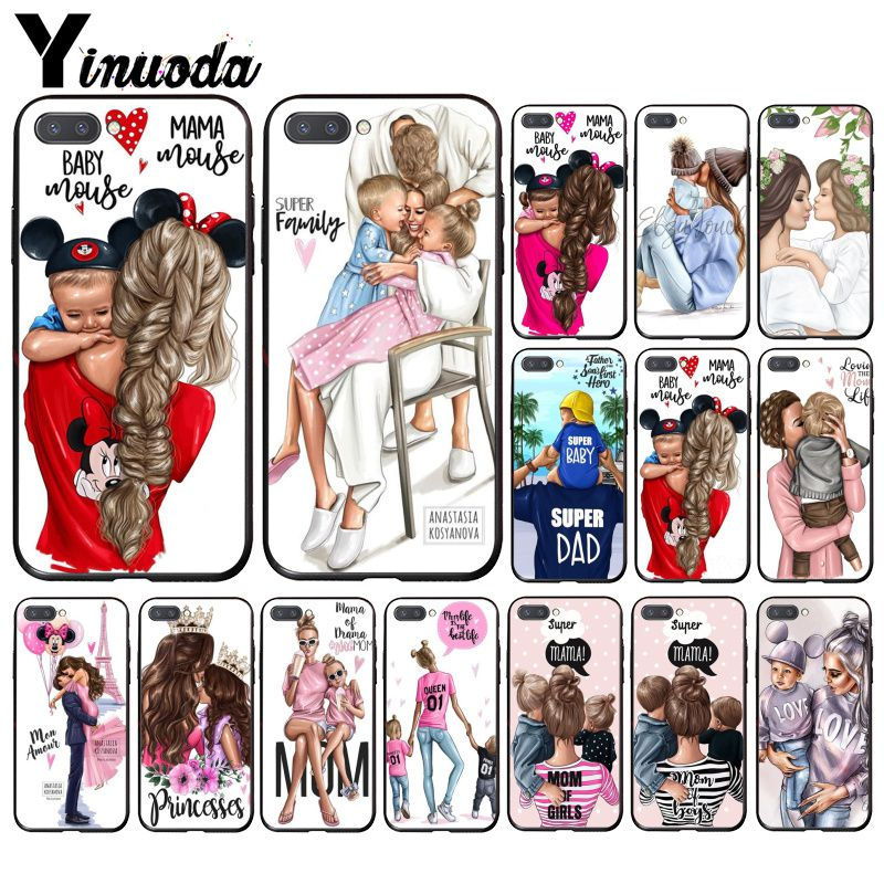 Yinuoda Fashion Black Brown Hair Baby Mom Girl Queen Phone Case For Huawei Honor 8A 8X 9 10 20 Lite 7A 5A 7C 10i 9X Pro Play 8C
