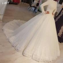 צנוע מוסלמי שמלות כלה ארוך שרוולי צווארון גבוה כלה שמלות מחוך חזור