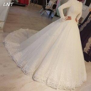Image 1 - צנוע מוסלמי שמלות כלה ארוך שרוולי צווארון גבוה כלה שמלות מחוך חזור