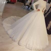 Modest Muslim Wedding Dresses Long Sleeves High Collar Bridal Dresses Corset Back