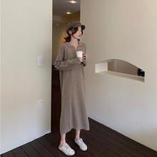 Autumn Knitted loose Maxi sweater dress Casual  Long Sleeve