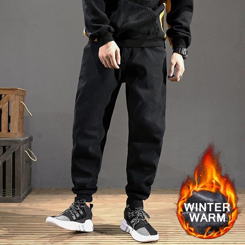Fashion Winter Jeans Men Joggers Loose Fit Black Color Spliced Designer Velvet Harem Jeans Cargo Pants Hip Hop Warm Jeans Homme