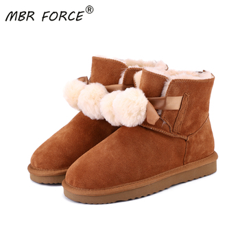 MBR FORCE Fashion able Women Warm Snow Boots Winter Boots Genuine Cowhide Leather Women Boots Ankle Boots Fur Shoes Size 34-44 genuine leather women ankle boots 2016 new winter autumn warm fur shoes plus size 35 46 work safety boots